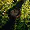 Bambuko laikrodis odine apyranke